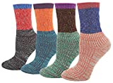 Women's Lady's 4 Pair Pack Vintage Style Colorful Cotton Crew Socks, Multi Color1