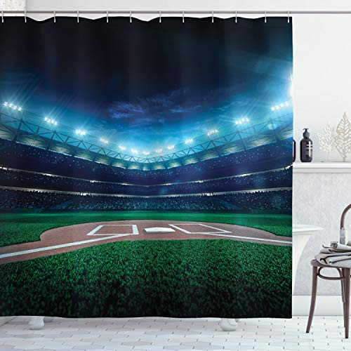 Ambesonne Baseball Shower Curtain, Professional Baseball Field at Night Vibrant Playground Stadium League Theme Print, Cloth Fabric Bathroom Decor Set with Hooks, 70 Long, Green Blue
