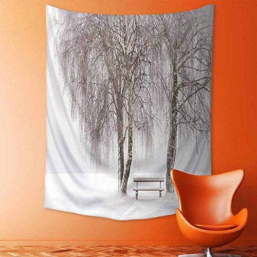 aolankaili Wall Tapestries Decor Bench in The Park on a Snowy Cold Winter Day in Storm Tapestry Table Cover Bedspread Beach Towel Lattern