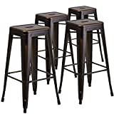 "Flash Furniture 4 Pk. 30"" High Backless Distressed Copper Metal Indoor-Outdoor Barstool"