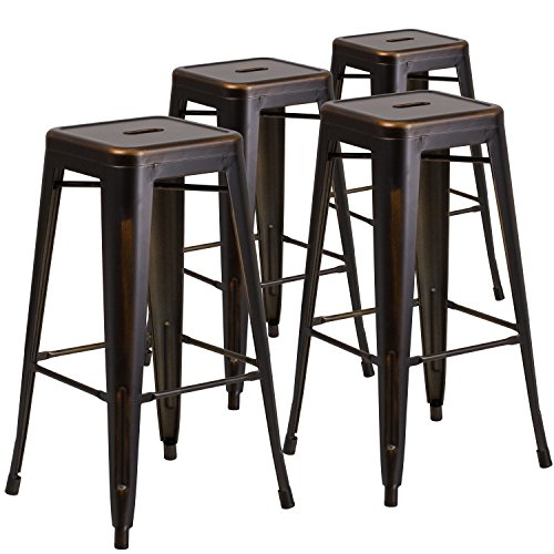 Flash Furniture 4 Pk. 30'' High Backless Distressed Copper Metal Indoor-Outdoor Barstool (Distressed Furniture Gold)