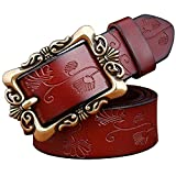 SHUNVFAN Woman Wide Synthetic Leather Vintage Floral Belts Top Quality Strap Female For Jeans Coffee Small Flower 90cm