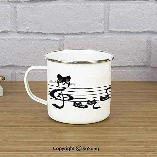 Music Decor Enamel Coffee Mug,Notes Kittens Kitty Cat Artwork Notation Tune Children Halloween Stylized,11 oz Practical Cup for Kitchen, Campfire, Home, -