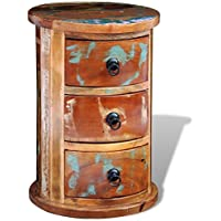 3 Drawer Rustic Round Storage Cabinet Multi-color Reclaimed Solid Wood Retro Style Handmade