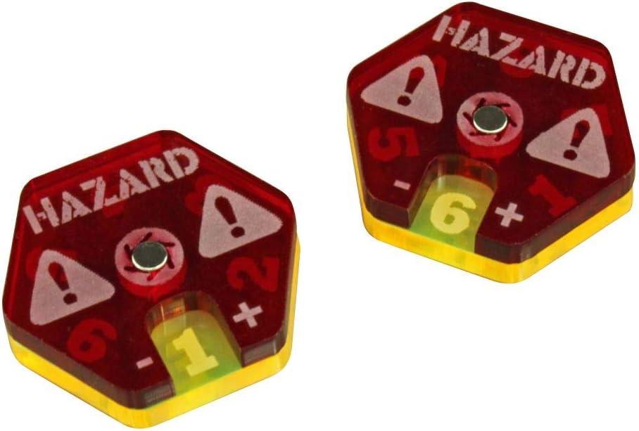 2 LITKO Gaslands Miniatures Game Hazard Dials Translucent Red /& Fluorescent Yellow
