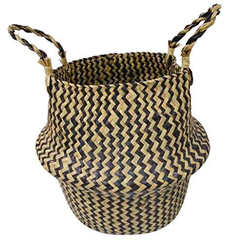 MOPOLIS Straw Basket Hanging Flower Planter Flower Pot Storage Basket with Handles (Color - 2) -