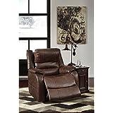 Ashley Furniture Signature Design - Barling Luxury Faux Leather Power Recliner w/Adjustable Headrest - Contemporary - Walnut