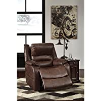 Ashley Furniture Signature Design - Barling Luxury Faux Leather Power Recliner w/ Adjustable Headrest - Contemporary - Walnut