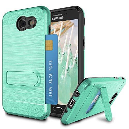 Galaxy J7 2017 Case, Galaxy J7 Sky Pro/Galaxy J7 V/J7V/J7 Perx Case for Girls, Jeylly Turquoise [Metal Satin] Card Holder with Kickstand Hybrid Dual Layer Hard Plastic + Soft TPU Drop Protection Case