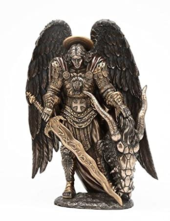 Amazon.com: St. Michael Killing Dragon Statue 10.75 Inch Figurine ...