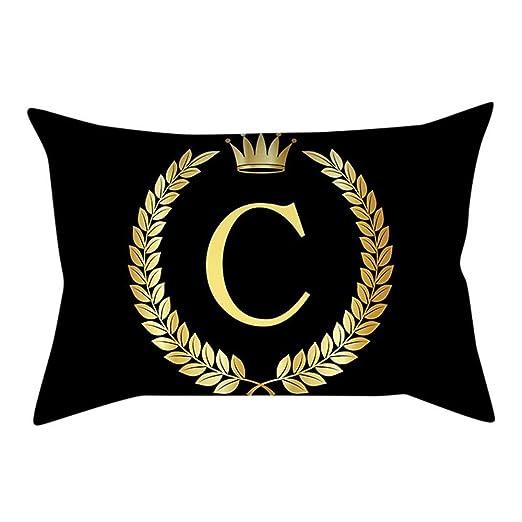 VJGOAL Personalidad única Carta de Oro de impresión Negro Funda de Almohada cómodo Sofá rectángulo Funda de Cojín Decoración para El ...