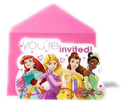 Princess Invitation Disney Birthday - Disney Princess Disney Princess Party Invitations, 8 Count