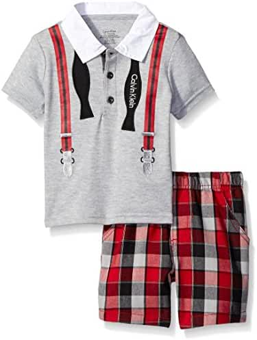 Calvin Klein Baby Boys' Interlock Top with Woven Shorts