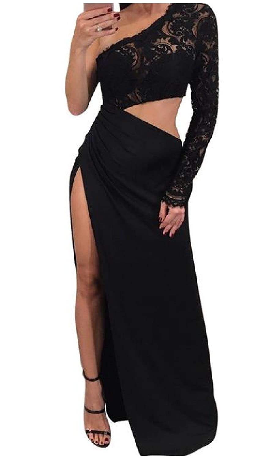 f1b7711f112 XiaoShop Womens Gown Long Sleeve Inclined Shoulder Sexy Maxi Dress at Amazon  Women s Clothing store