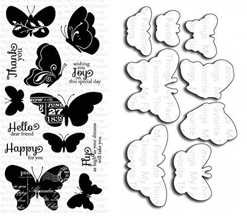 My Favorite Things Blissful Butterflies Clear Stamp and Die-namics Die Set - Includes One Each of LJD-20 (Stamp) & MFT-319 (Die) - Custom Set by My Favorite Things by My Favorite Things