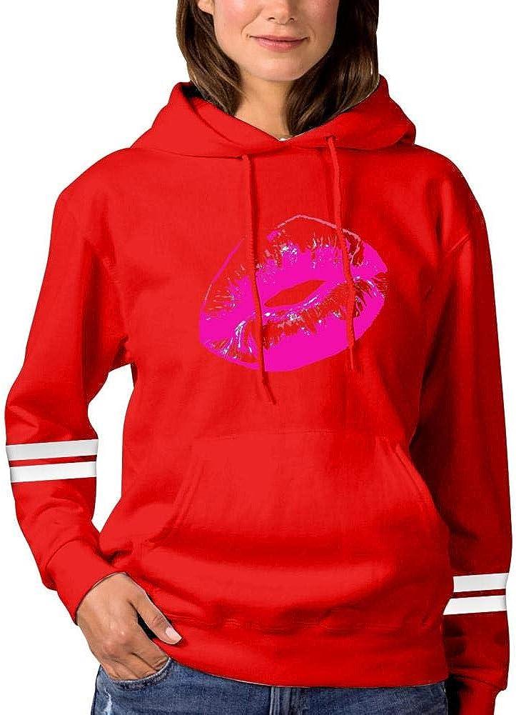 shdyq23cfs Cotton Luscious Lips Hoodies for Women Fashion Loose Sweatshirts with Pockets Girls Hooded Tunic