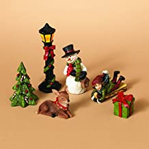 Miniature Traditional Christmas Figurines, Set of 6 Rearrangeable Figures - Tabletop Holiday Decoration