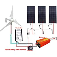 ECO LLC 850W Hybrid Solar-Wind Kit 400W Wind Generator & 3x150W Solar Panel & 1KW Inverter