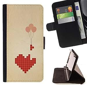 LOVE BALLOON HEART COMPUTER GAME VALENTINES/ Personalizada del estilo del dise???¡Ào de la PU Caso de encargo del cuero del tir????n del soporte d - Cao - For Apple Iphone 4 / 4S