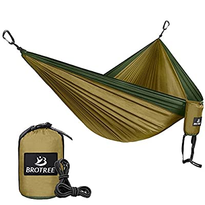 Brotree Double Camping Hammock - Portable Lightweight Parachute Nylon Hammock - Ropes and Carabiners Included - Best for Hiking, Camping, Backpacking, Travel, Backyard, Beach