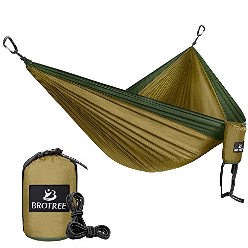 Brotree-Double-Camping-Hammock-Portable-Lightweight-Parachute-Nylon-Hammock-Ropes-and-Carabiners-Included-Best-for-Hiking-Camping-Backpacking-Travel-Backyard-Beach