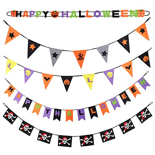 MonkeyJack 5pcs Halloween Banner Hallowmas Skull Bunting All Hallows' Day Haunted House Evil Spirt Props Decoration Felt ()