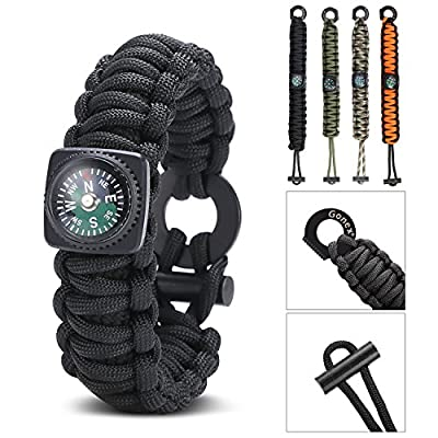 Gonex Paracord 550 Survival Bracelet, Emergency Survival Kit with Compass, Eye Knife, Fire Starter, Fishing Tool for Camping, Hiking, Hunting, Travelling by Gonex