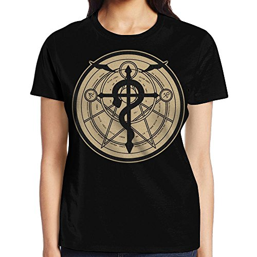 Price comparison product image Fullmetal Alchemist Flamel,Fashion Lady Round Neck Short Sleeve Tees White M