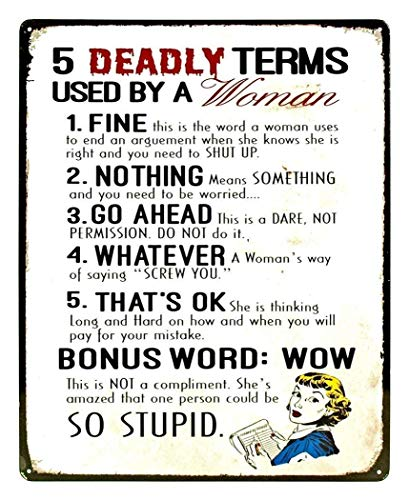 NNHG Tin Sign 8x12 inches 5 Deadly Terms Used by A Woman Funny Distressed Look Tin Collectible Sign (Five Deadly Terms Used By A Woman)