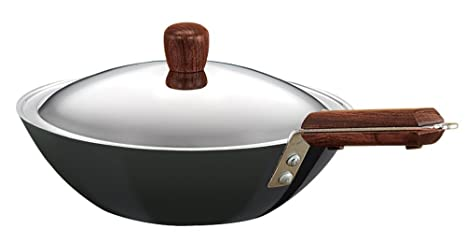 Hawkins Futura L 21 Hard Anodised Flat Bottom Deep-Fry Pan with Steel Lid, 2.5 Litres Frying Pans at amazon