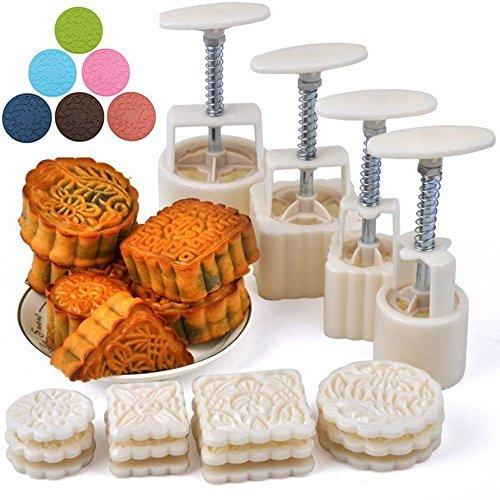 Resulzon Mooncake Fodant Gift DIY Moon Cake Mold With 12 Pcs Mode Pattern For 4 ()