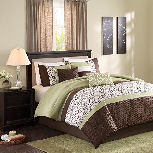 Madison Park MP10-1319 Briggs 7 Piece Comforter Set, Queen, Green (Green Brown Comforter Set)