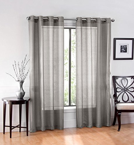 GoodGram 2 Pack Ultra Luxurious High Woven Elegant Sheer Grommet Curtain Panels - Assorted Colors (Grey) Gray Sheer Curtains
