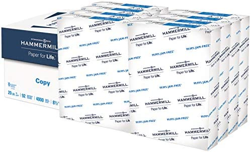 Hammermill Printer Paper, 20 lb Copy Paper, 8.5 x 11 - 8 Ream (4,000 Sheets) - 92 Bright, Made in america