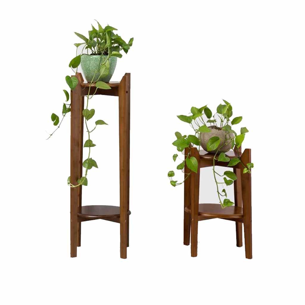 Di Legno Tavola rossoonda Flower Stand 2-Tier Espositore per Piante in Vaso Mensola A Pavimento Soggiorno bambù Balcone colore del tè Interno All'aperto