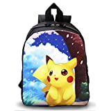"""Uoone® Large Pokemon Pikachu 13"""" Canvas Backpack with Side Pockets for School Kids."""