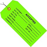 Partners Brand PG20023 Inspection Tags, Pre-Wired,Accepted, 4 3/4'' x 2 3/8'', Green (Pack of 1000)