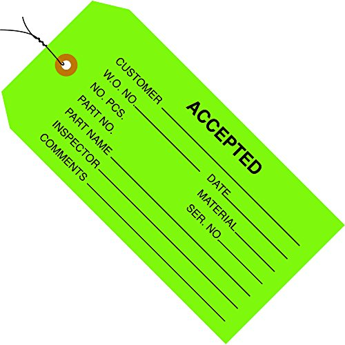 Partners Brand PG20023 Inspection Tags, Pre-Wired,Accepted, 4 3/4'' x 2 3/8'', Green (Pack of 1000) by Partners Brand