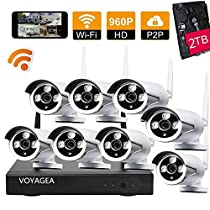 VOYAGEA 8CH 960P NVR wireless monitoring security system NVR Night Vision IP Surveillance Camera Kit waterproof camera 2TB hard disk Wireless Home Surveillance Security Camera A18