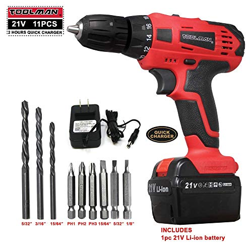 Toolman Led Cordless Power Drill Kit 21V with Drill Set 11 pcs for Heavy Duty works with DeWalt Makita Ryobi - Kit Cordless Drill Usa