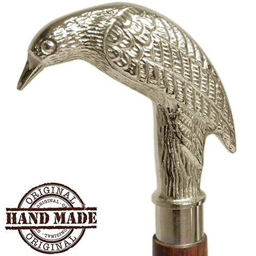 AS Artisans Todays Deals on - 37 Inch Walking Stick Derby Wooden Walking Stick Cane for Men and Women - Golden Ebony Brass Bird Handle in Silver Tone Natural Wood Walking Stick Cane for Men/Women