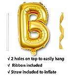 "16"" Single Gold Alphabet Letter Balloons Aluminum Hanging Foil Film Balloon Mylar balloons Air Balloon CANNOT FLOAT(16"",Letter B)"
