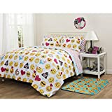 Twin Size Emoji Bed in a Bag 5 Piece Playful Pal Emoji Patterned Reversible Sheet Set Twin/Twin XL Size, Printed Heart Love Sleepy Cool Smiley Diamond Bedding, Kids Modern Emojis Lover Bedroom Style, Bed in A Bag Design, Yellow