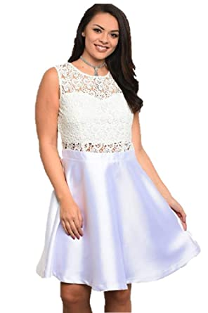 White Lace Sleeveless Satin Special Occasion Dress Plus Size ...
