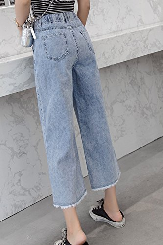 Pantalons Haute Taille Trs Simgahuva De Baggy Jeans Blue La Jambe Cheville lastique q7Hwga8xO