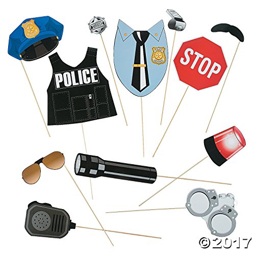 Police Officer Party Supplies (Police Party Photo Stick Props - 12 pc)