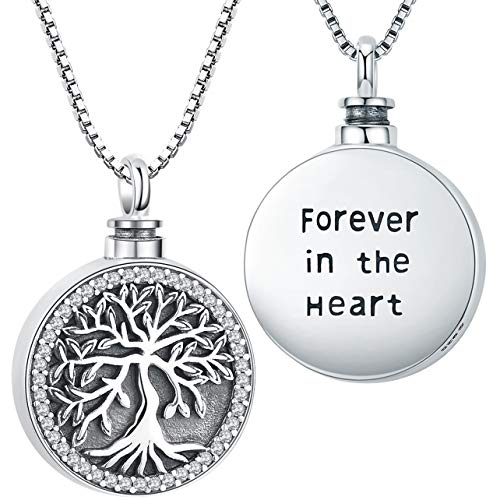 Cremation Jewelry for Ashes, Urn Necklace for Women, Sterling Silver Keepsake Pendant Charm