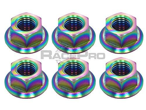 RacePro - Honda RVF400 NC35 1996 x 6 Titanium Rear Sprocket Nuts - Rainbow
