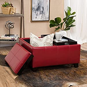 Amazoncom Justin Red Leather Tray Top Storage Ottoman Kitchen
