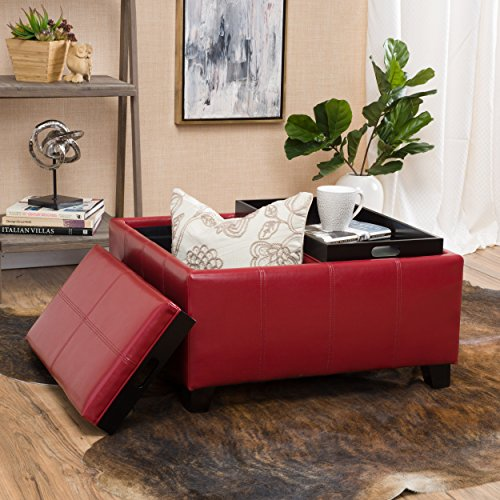 Burgundy Leather Ottoman - Christopher Knight Home 296882 Justin Red Leather Tray Top Storage Ottoman,